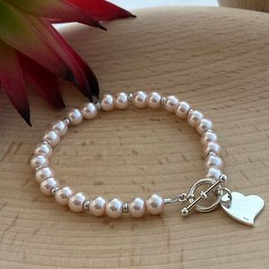 925 Sterling Silver & Pink Pearl Glass Bea…